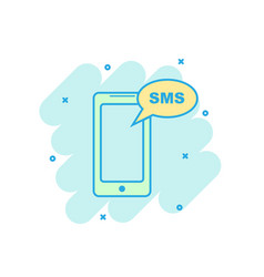 cartoon colored smartphone with sms icon in comic vector image