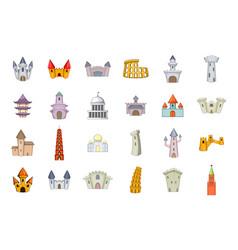 castle icon set cartoon style vector image