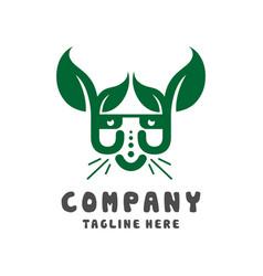 cat head leaf logo design template vector image