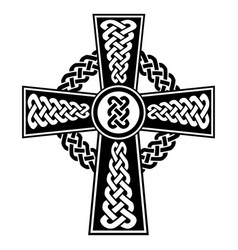 celtic knot in the cross shape in black and white vector image