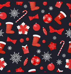 christmas seamless pattern socks candy lollipop vector image