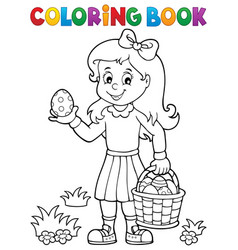 coloring book girl with easter eggs 1 vector image