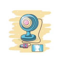computer web cam cartoon vector image