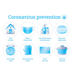 Coronavirus prevention infographic poster with vector