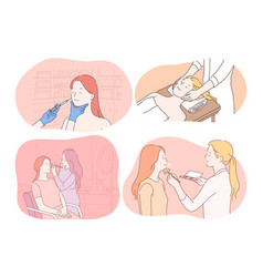 Cosmetology dermatology make up massage vector