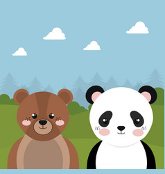 Cute bear and panda in the field landscape vector