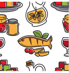 cyprus cuisine seamless pattern seafood and olive vector image