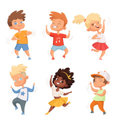 dancing children male and female set vector image