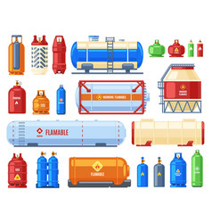 Dangerous gas containers gas steel cylinder and vector