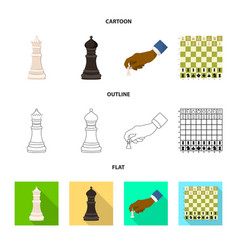 design of checkmate and thin symbol set of vector image