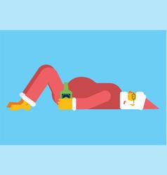 drunk santa lies on floor grandfather and bottle vector image