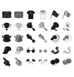 Fan and attributes blackmonochrome icons in set vector