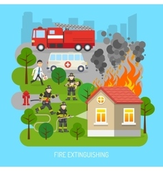 Firemen at work concept flat poster vector