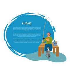 Fisherman with fishing rod and fish sketch vector