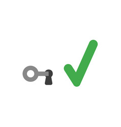 Flat design concept of key in keyhole with check vector