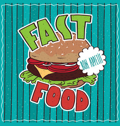 Food poster with fast food vector