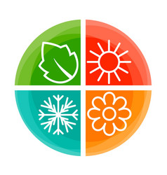 Four nature seasons color circle vector