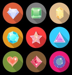 Gem stone cutting flat color icons with long vector