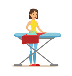 girl ironing laundry after washing part of people vector image