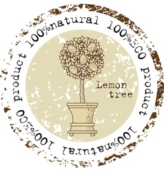 Grunge rubber stamp with lemon tree vector
