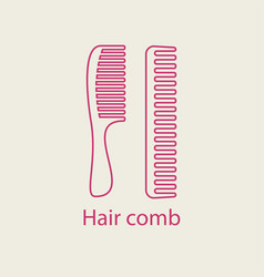 Hair comb icon device for combing hair thin line vector