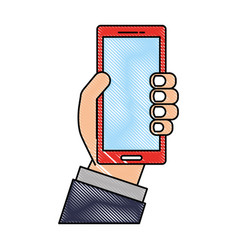 hand holding cellphone device digital vector image