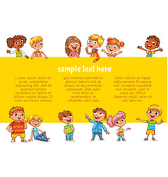 happy children holding poster vector image