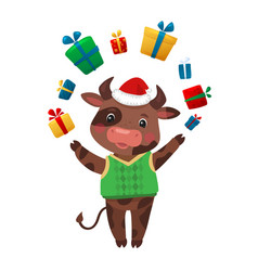 happy new year cartoon cows character cow holding vector image