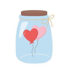 Happy valentines day jar glass balloons shape vector