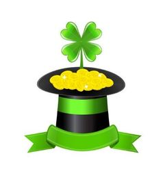 hat clover and golden coins vector image