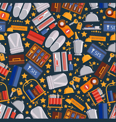 hotel service icons in seamless pattern vector image