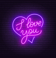 i love you neon lettering heart sign vector image