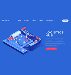 Logistics hub landing page template sea vector