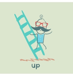 Man climbs the stairs vector