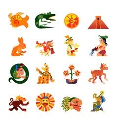 Maya symbols flat icons set vector