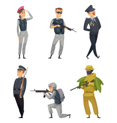 military soldiers with various weapons vector image