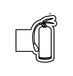 monochrome contour emblem with extinguisher vector image