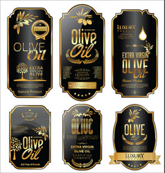 Olive oil retro vintage gold and black labels vector