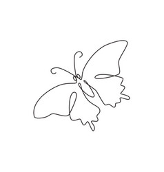 One single line drawing beautiful butterfly vector