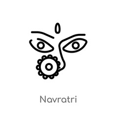 Outline navratri icon isolated black simple line vector