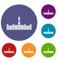 Parliament building of canada icons set vector