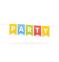 party word on pennants on rope vector image