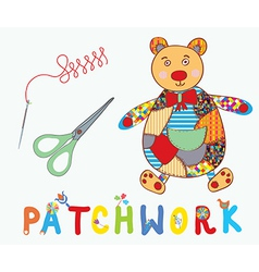 Patchwork background with teddy bear needle and vector image
