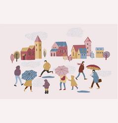 people in the rain autumn vector image