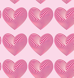 Pink hearts seamless patterns Optical 3d vector image