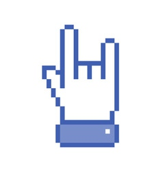 Pixel blue rock hand icon vector image