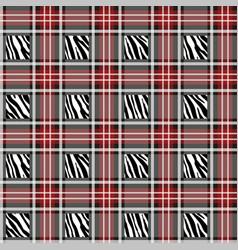 plaid tartan seamless with zebra stripes pattern vector image