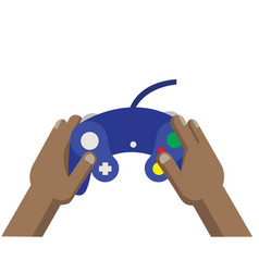 playing game using blue joy stick game pad vector image