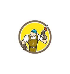 Plumber Monkey Wrench Circle Cartoon vector