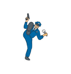 policeman gun flashlight torch kicking drawing vector image